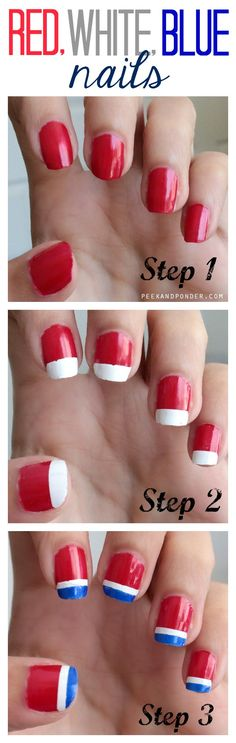 manicure -                                                      Need a quick idea for a patriotic manicure? Try this simple 4th of july DIY nail art design for your get together.