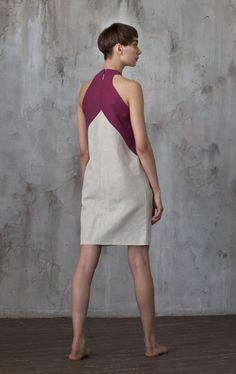 Купить или заказать Платье с карманами в стиле 'color blocking' / Летнее платье в интернет-магазине на Ярмарке Мастеров. Платье в стиле 'color blocking' с большими необычными карманами. Сделано из натурального льна. Прямой силуэт. Английская пройма. Сзади на молнии.…