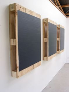 Noel Ivanoff, Stacker P3, 200, 7Oil on 3 found pallets, Each panel 1050 x 850 x 140 mm