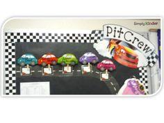 "Race Car Themed Room & Freebie - Simply Kinder---""_____'s Kindergarten Pit Crew"" Classroom Decor Themes, Future Classroom, Classroom Ideas, Disney Classroom, Classroom Door, Race Car Themes, Race Cars, Disney Theme, Disney Cars"