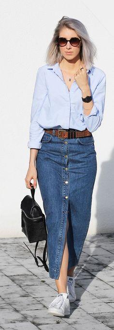 Denim Button Skirt Outfit Idea