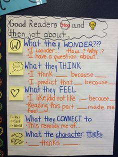 ELA Anchor Charts: Stop and Jot Employing Index charts in addition to Topographical Road directions Anchor Charts First Grade, Kindergarten Anchor Charts, Writing Anchor Charts, Questioning Anchor Chart, Readers Workshop Kindergarten, Kindergarten Writing, Reading Strategies, Reading Comprehension, Comprehension Strategies