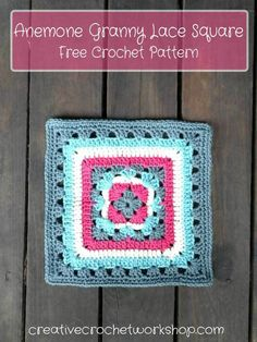 Anemone Granny Lace Square - Free Crochet Pattern | Creative Crochet Workshop