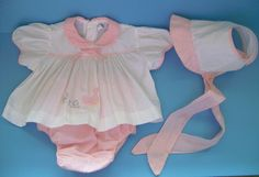 Vintage 70s Baby Outfit 3 Mos Dress Diaper Cover Bonnet Set White Pink Stripe #Unbranded #Dressy