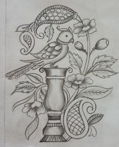 Outline Drawings, Pencil Art Drawings, Bird Drawings, Art Drawings Sketches, Flower Art Drawing, Kalamkari Painting, Indian Art Paintings, Embroidery Motifs, Fabric Painting