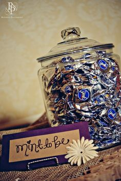 How cute to put at the wedding card/guestbook table...Andes mints would be fabulous! by saronabm