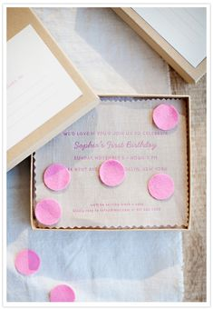 large, pink confetti // birthday invitations // invites by Simplesong Design // styling & photography by Karen Mordechai First Birthday Parties, First Birthdays, Serpentina, 1st Birthday Invitations, Wedding Invitations, Holiday Parties, Party Time, Pre Party, Party Planning
