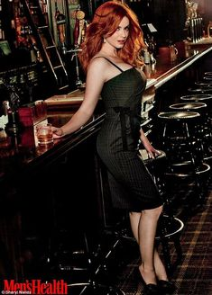 Christina Hendricks poses in a grey pinstripe dress with a glass of whiskey. (She is my body inspiration! Such a beautiful lady & love her curves! Beautiful Redhead, Beautiful People, Beautiful Women, Beautiful Christina, Natural Redhead, Christina Hendricks, Cristina Hendrix, Hottest Redheads, Sensual