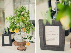 tree slice + citrus centerpiece (Wedding at The Parker Palm Springs: Ann + Richard)
