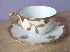 antique tea set, gold tea cup and saucer set, AK Limoges France tea set, gold… Tea Cup Set, Cup And Saucer Set, Tea Cup Saucer, China Cups And Saucers, China Tea Cups, Vintage Crockery, Vintage Tea, Antique Tea Sets, White Cups