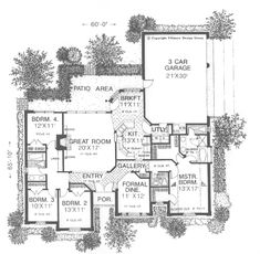 The Sunnybrook European Home has 4 bedrooms, 2 full baths and 1 half bath. See amenities for Plan 036D-0064.