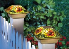 Solar Fence Sunflower Post Light Cap