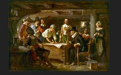 "Painting: ""The Mayflower Compact, 1620,"" by Jean Leon Gerome Ferris, 1899. Source: Library of Congress. Read more on the GenealogyBank blog: ""Mayflower Hat Maker: Degory Priest"" https://blog.genealogybank.com/mayflower-hat-maker-degory-priest.html"
