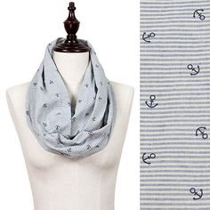 Mini Anchor & Stripe Cotton Infinity Scarf  #Anchor #Stripe #Cotton #Infinity #Scarf #Wholesale www.wholesale24x7.com