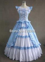 Luz Azul Sem Mangas Longo Vestido Vitoriano Gótico Vitoriano Trajes/Vestido de Período(China (Mainland))
