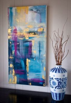 """""""A Night in Paris"""" by Kellie Morley - 18x36 Abstract acrylic on canvas"""