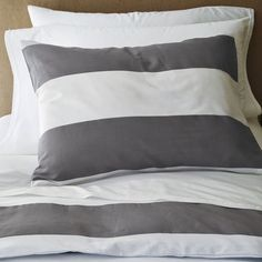 Stripe Duvet Cover and Shams, White/Feather Gray traditional duvet covers