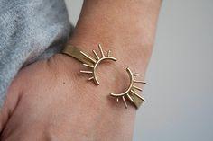 Open Brass Bangle Adjustable Bracelet Gold Burst Sun by leahstaley
