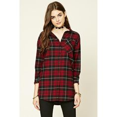Forever21 I Heart You Plaid Shirt ( 16) ❤ liked on Polyvore featuring tops aa5f073eb06