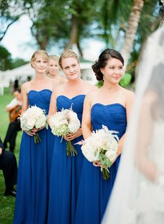 Bridesmaids in Blue | Pretty! See the wedding on SMP -- http://www.StyleMePretty.com/2014/01/23/maui-destination-wedding-at-the-sugarman-estate/ Jana Morgan Photography