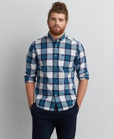 American Eagle Outfitters AEO Oxford Button Down Shirt | men's ...