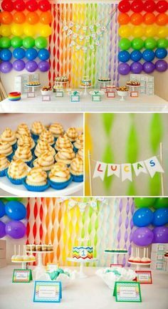 Bright Birthday Party in a Rainbow of Colors by 1108 Birthday Party Tables, Rainbow Birthday Party, Art Birthday, 4th Birthday Parties, Birthday Ideas, Festa Rainbow Dash, Rainbow Parties, Rainbow Theme, Rainbow Brite