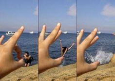 Forced perspective photography: Optical illusion turns holiday pictures into special effects masterpieces Forced Perspective Photography, Perspective Photos, Trucage Photo, Images Cools, Cool Pictures, Cool Photos, Funny Beach Pictures, Perfect Timed Pictures, Lake Pictures