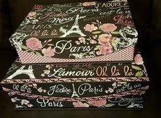 New Two Decorative Paris Theme Flap Lid Nesting Storage Boxes
