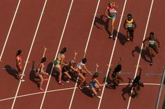 The changeover in the women's heats at the IAAF World Championships, Beijing 2015 (Getty Images) Hurdles, World Championship, Beijing, Basketball Court, Track, Sports, Hs Sports, Runway, World Cup