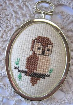 Vintage Owl Cross Stitch Magnet Retro 1970s by sweetlibertyvintage