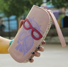 New Arrival Cute Owl Hollow Three-Dimensional Printing Rounded Zipper Long Women Wallet Ladies