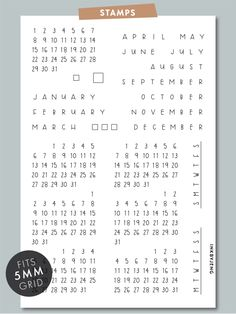 """Calendar Clear Stamp individual - Month Names - """"M T W T F S S"""" - """"S M T W T F S"""" - calendars - 31 - small check boxes - small check - large check boxFits grid perfectly. Sized for Leuchtturm dot grid journal but Clear Stamps, Handwriting, Stencils, Calendar, Dots, Bullet Journal, Bujo, Journaling, Calligraphy"""