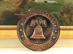 Vintage Liberty Bell Wall Plaque  Free Shipping