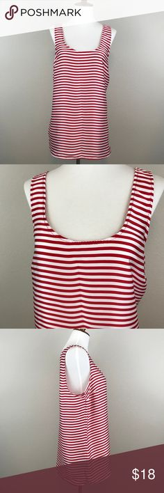"""MICHAEL KORS CANDY CANE TANK - SIZE L Soft and flowy tank. Candy cane colors are great for the holidays, making this a year-round pick! Priced to reflect the wearing on the gold """"Michael Kors"""" bar on the back of the neck, as pictured. Otherwise, great condition! Michael Kors Tops Tank Tops"""
