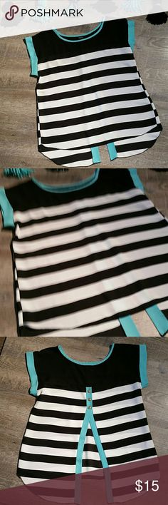 Black White Aqua Striped Shirt Good condition. Comes from a smoke-free pet-free home. Rue21 Tops Blouses