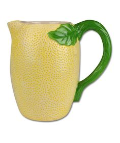 Another great find on Lemon Pitcher by Design Imports Beach Kitchen Decor, Lemon Kitchen Decor, Kitchen Decor Themes, Farmhouse Kitchen Decor, Kitchen Cabinet Design, Interior Design Kitchen, Ceramic Pitcher, Kitchen On A Budget, Kitchen Ideas