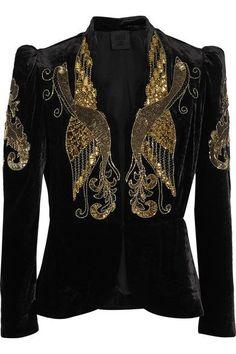 black velvet with gold phoenix Velvet Cami, Velvet Blazer, Velvet Jacket, Black Velvet, Sequin Blazer, Sequin Jacket, Anna Sui, Beaded Jacket, Blazers
