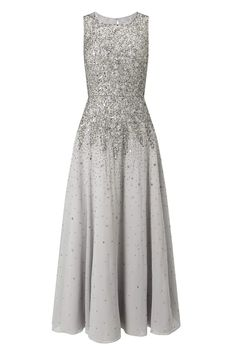 Grey Bridesmaid Dresses: The volume, the sequins, the beads: this Jacques Vert dress is gorgeous! The design of the embellishment creates an illusion of an elongated torso for a super flattering fit on all body shapes.