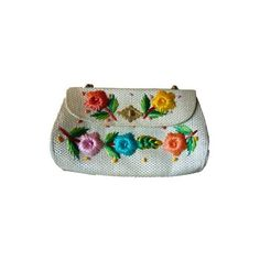 Vintage 1960's Raffia Flower Purse ($18) ❤ liked on Polyvore featuring bags, handbags, green bags, flower bag, embroidered bags, embroidered handbags and woven handbag