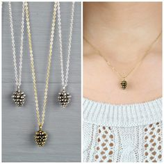 Dainty Pine Cone Necklace Pine cone Pine Cone by Bauble Vine $22.95