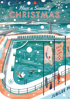 Illustration Jubilee Pool Penzance and St Michael's Mount at Christmas. By Matt Johnson for Seasalt Cornwall.