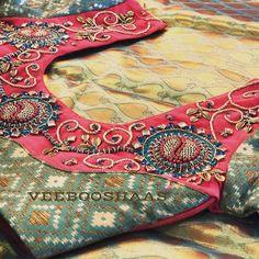 South Indian Blouse Designs, Simple Blouse Designs, Bridal Blouse Designs, Saree Blouse Designs, Blouse Styles, Zardosi Work Blouse, Maggam Work Designs, Designer Blouse Patterns, Ethnic Design
