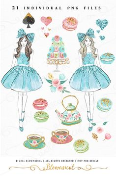 A chic & glam tea party collection featuring a fashion hand sketched girl in glitter teal dress (brunette and blond) and cute glitter bow, delicious french macarons with gold foil details, macaron stand, high tea floral tea cups and tea pot, floral bunches and leaves, pretty hearts and a glam spade design!  You will receive 21 individual graphics to create your own design arrangement and layout.  The clip art set is perfect for planner stickers, scrap booking, fashion boutique, decor, eve...