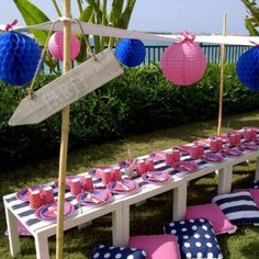 nautical girl baby shower   Nautical Preppy Birthday Party Printables Collection - Navy and Pink