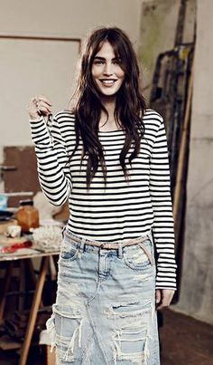 Striped long sleeve tee and a reworked denim midi skirt. perfect