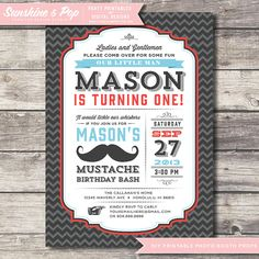 DIY Printable Little Man  Invitation Mustache Birthday -   Printable Custom Invite - Moustache Party Package First Birthday Invite on Etsy, $16.00