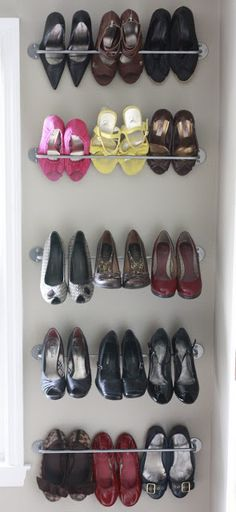 Cheap and easy shoe storage with Ikea Bygel Rail - 2.99 ea
