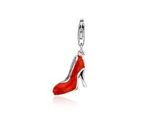 Red High Heel Shoe Charm in Sterling Silver