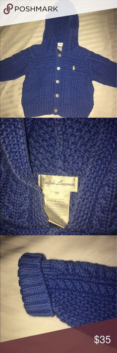 Ralph Lauren Cable Knit Hooded Cardigan Excellent Condition Cable Knit Hooded Cardigan. 100% cotton and machine washable. It has the signature embroidered pony at the left chest, buttoned placket, long sleeve with rib-knit cuffs and two front waist patch pockets. Ralph Lauren Shirts & Tops Sweatshirts & Hoodies