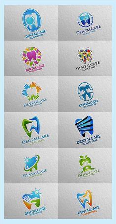 """Dental Logo, Dentist Stomatology Logo check out my new set """"Dental Logo"""" on shutterstock Corporate Identity Design, Branding Design, Logo Design, Graphic Design, Dental Images, Dentist Logo, Clinic Interior Design, Dental Art, Dental Office Design"""